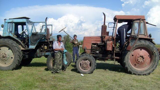 Мужчины возле тракторов на траве