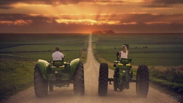 Совместная прогулка на зелёных тракторах