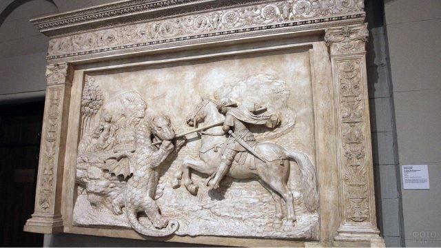 Мраморная скульптура-барельеф