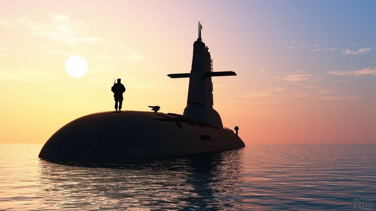 Подводная лодка с солдатом в море на закате