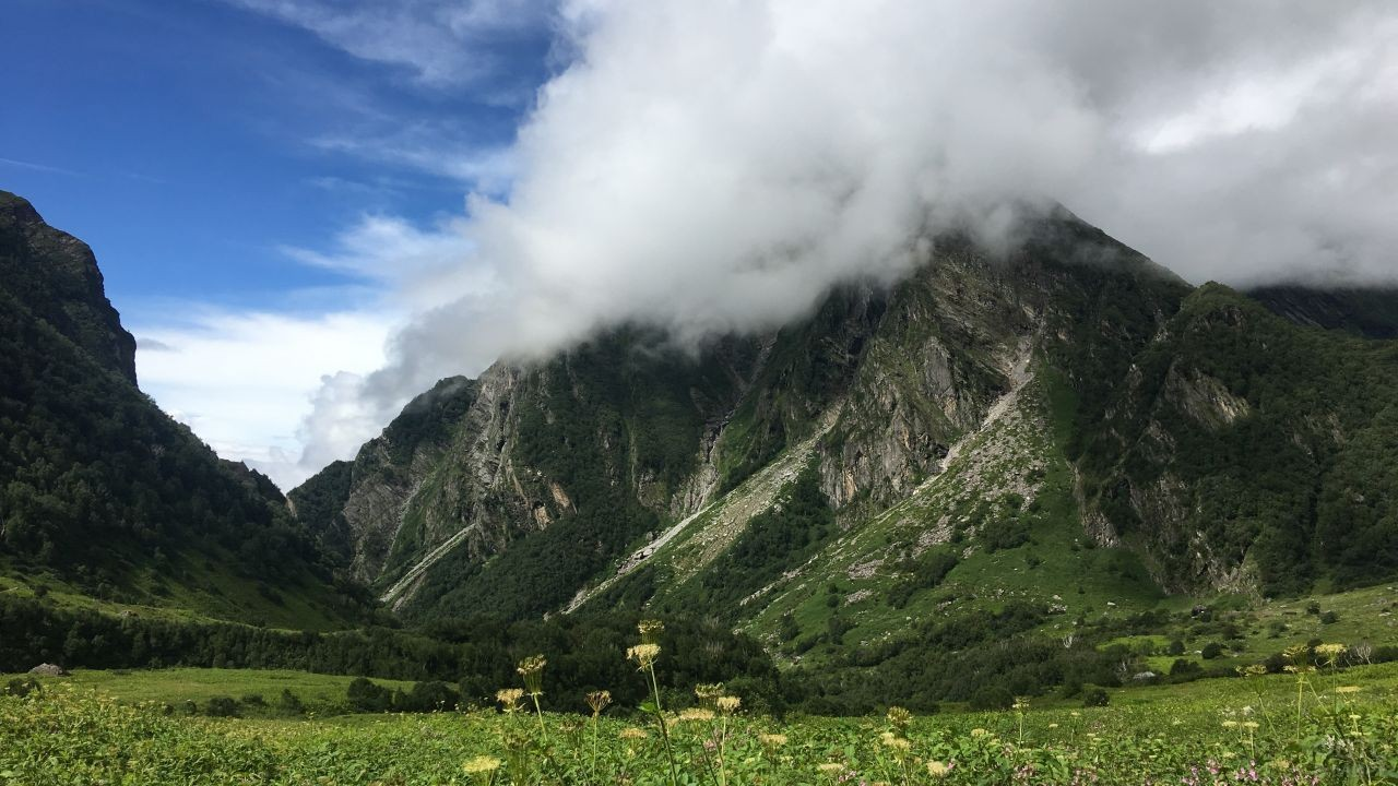 Красивая долина на фоне горы окутана густыми облаками