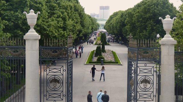 Ворота входа в Нескучный сад 19 века