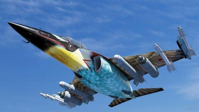 Раскрашенный как птица истребитель Як-130 ВВС России