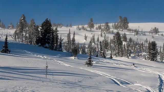 Лыжная трасса зимой в Ергаках
