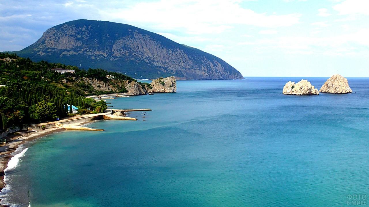 Морской пейзаж с пляжами Артека