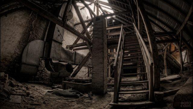 Деревянная лестница, ведущая наверх