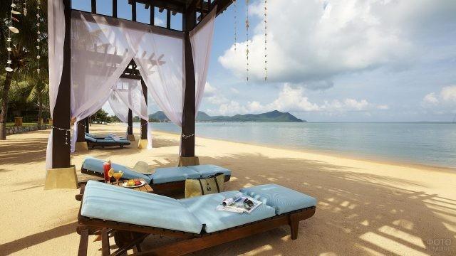 Туристические зоны на пляже у отеля