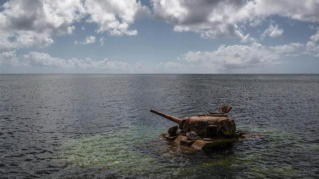 Ржавый танк утонул в водоёме