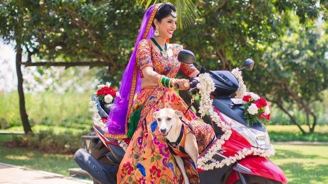 Индианка с собакой на мотоцикле