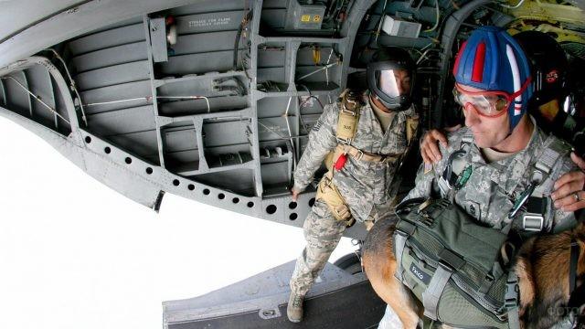 Десантник с собакой готовится к прыжку