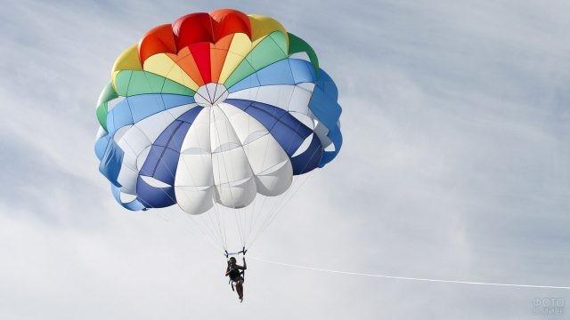 Девушка и парашют в небе