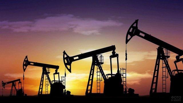 Силуэты нефтяных качалок на фоне закатного неба