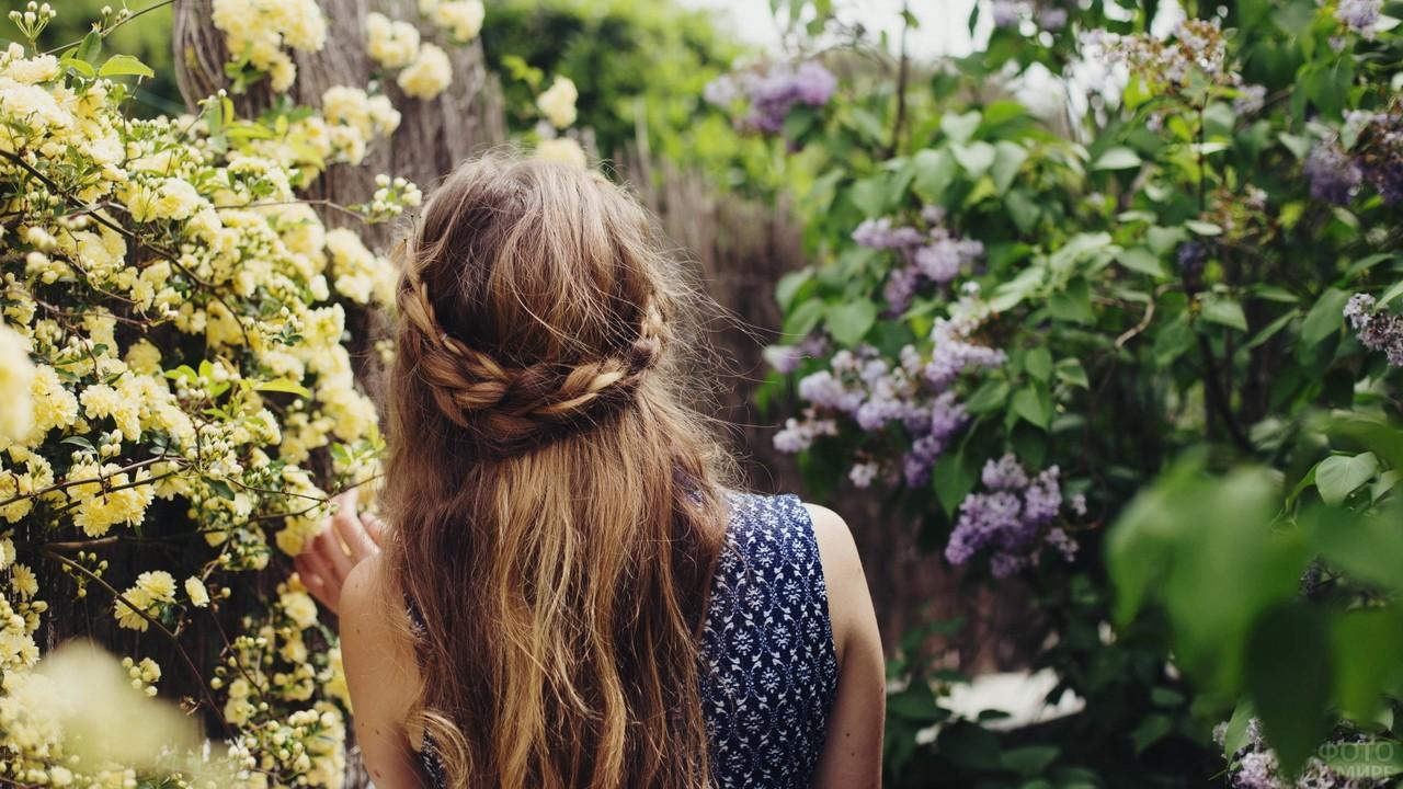 Нежная девушка среди сирени и жёлтых цветов