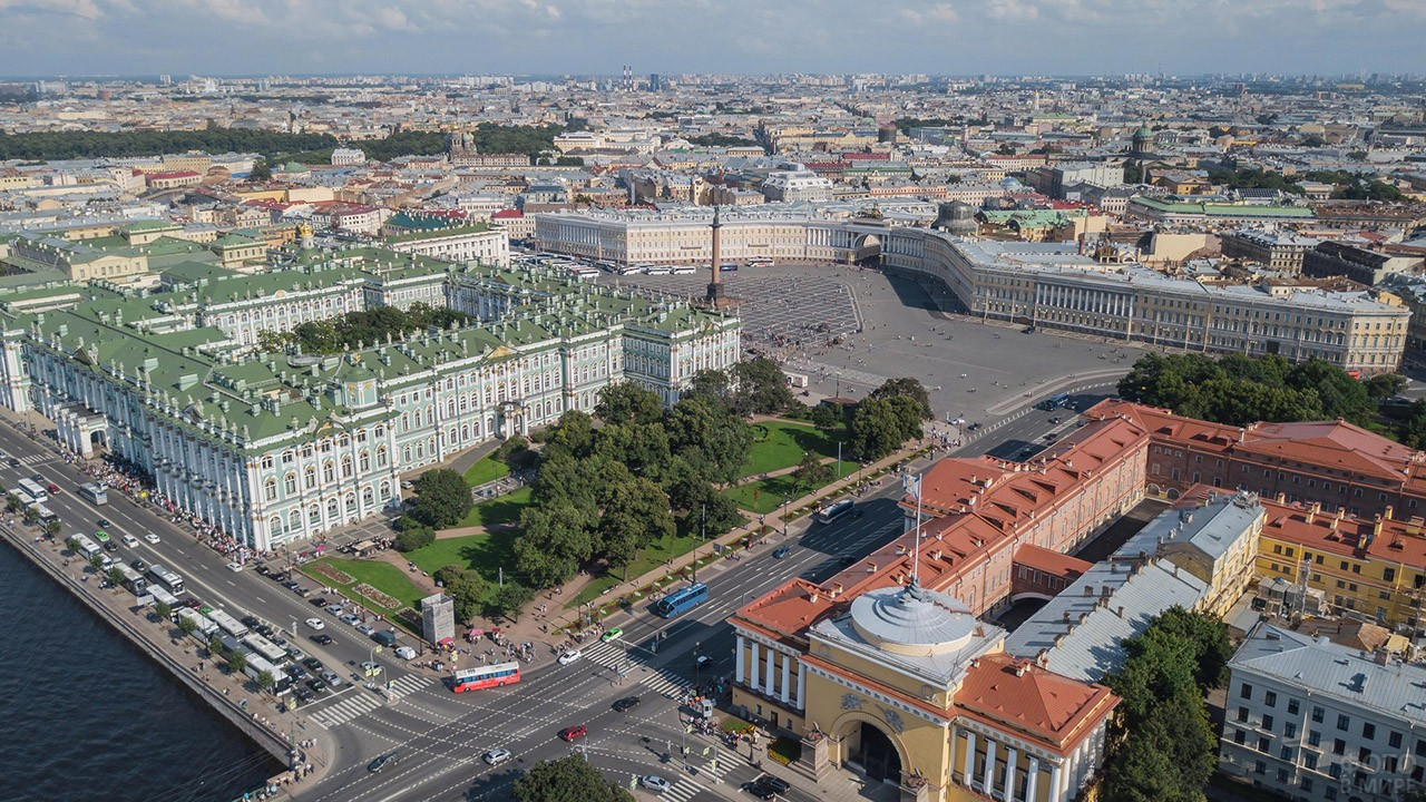 Аэрофотосъёмка летнего Санкт-Петербурга