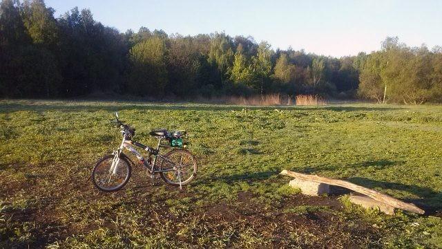 Велосипед на утренней лужайке