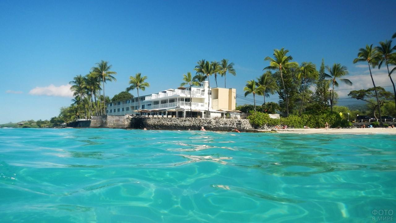 Отель и пляж в Каилуа-Кона