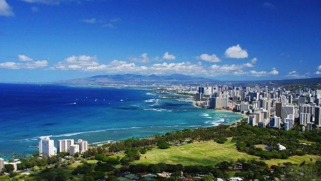 Панорама Гонолулу - столицы штата Гавайи