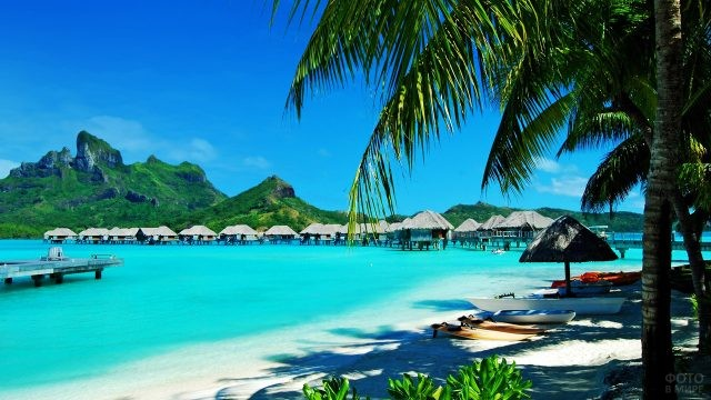 Тропические бунгало отеля у тенистого пляжа