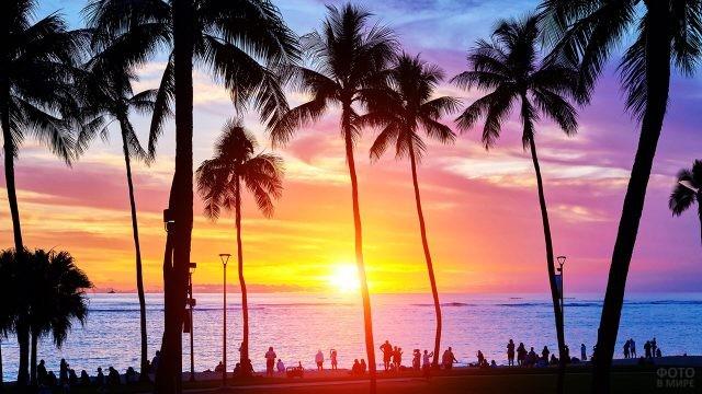 Туристы любуются живописным гавайским закатом