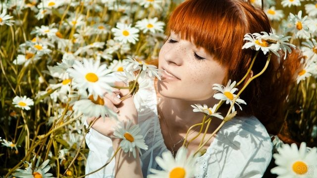 Милая девушка в ромашковом поле