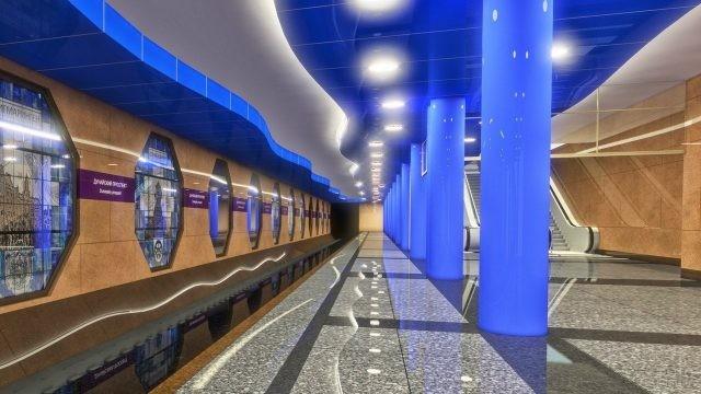 Бело-голубая станция в Питере