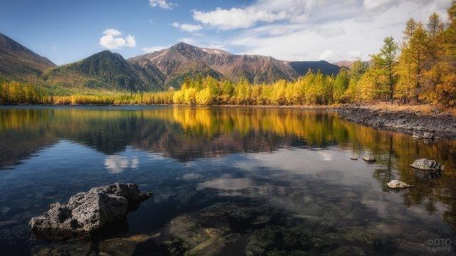 Озеро в горной местности