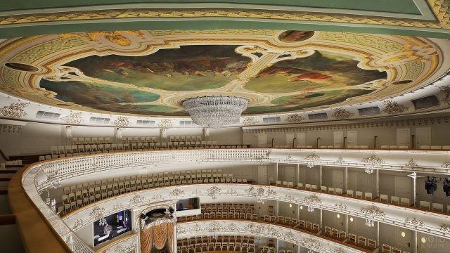 Люстра на разрисованном потолке