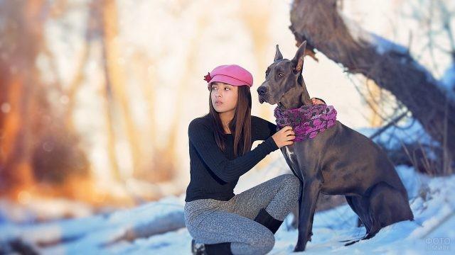 Девушка надела шарф собаке зимой
