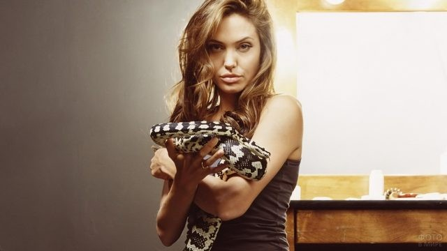 Анджелина Джоли со змеёй в руках