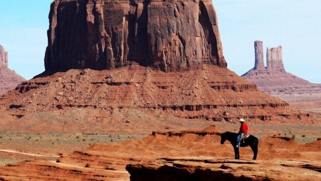 Ковбой на лошади на краю обрыва
