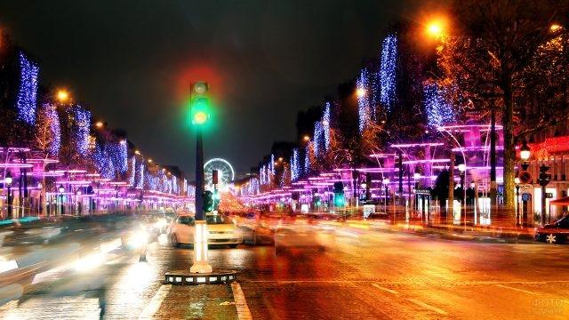 Новогодние огни Шанз-Элизе