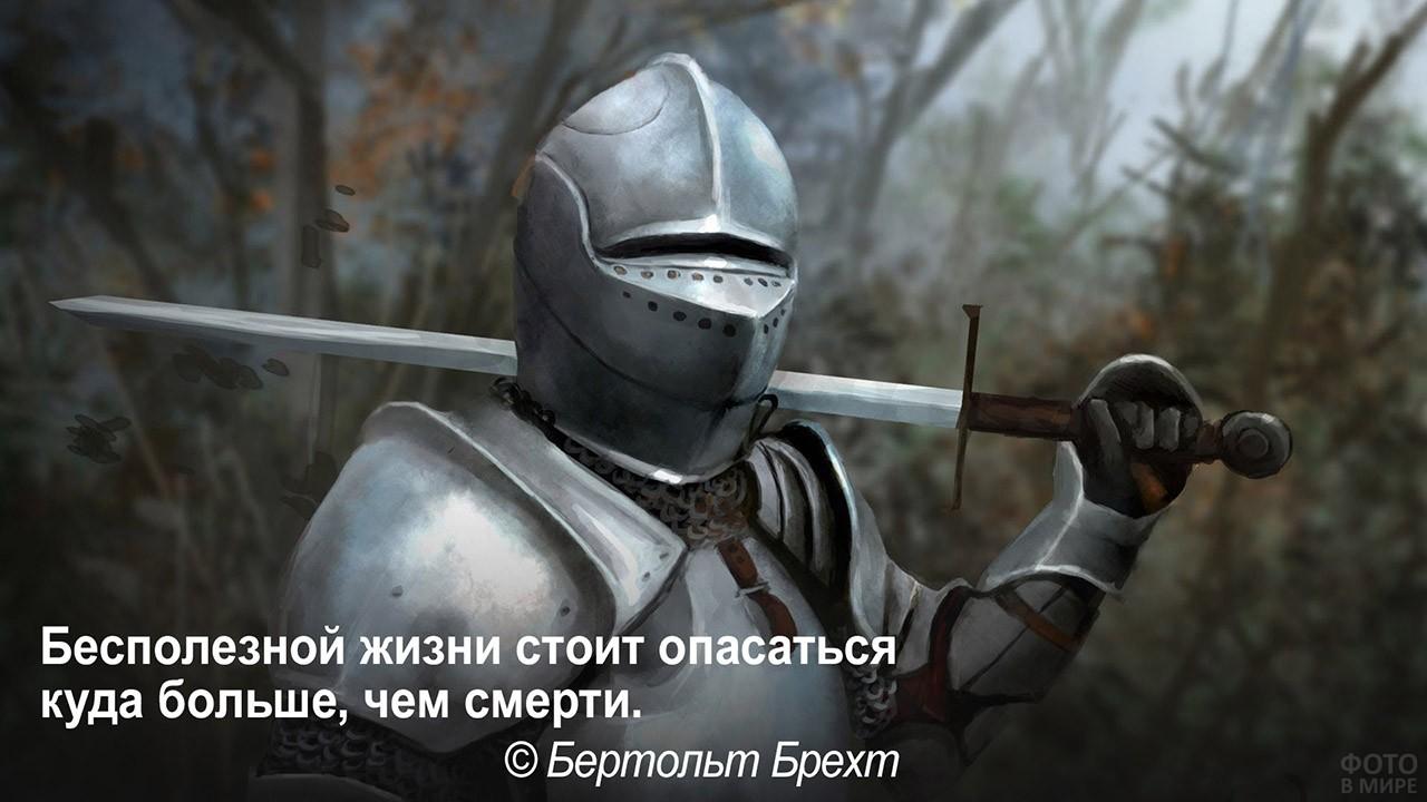 Бесполезная жизнь страшнее смерти - рыцарь с мечом