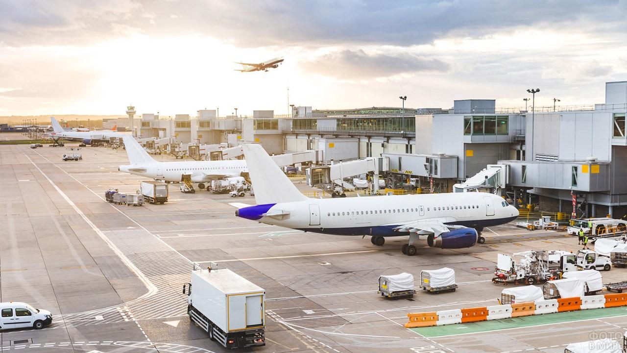 Оживлённый перрон аэровокзала