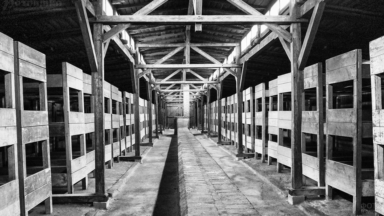 Нары на восьмерых в деревянном бараке