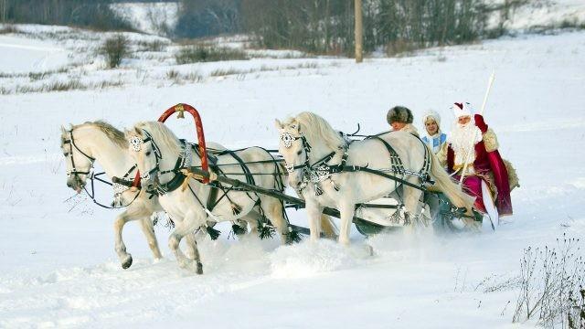 Дед Мороз со Снегурочкой мчатся на тройке белых лошадей