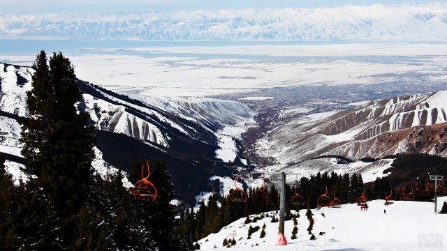 Горнолыжный курорт с видом на озеро и горы