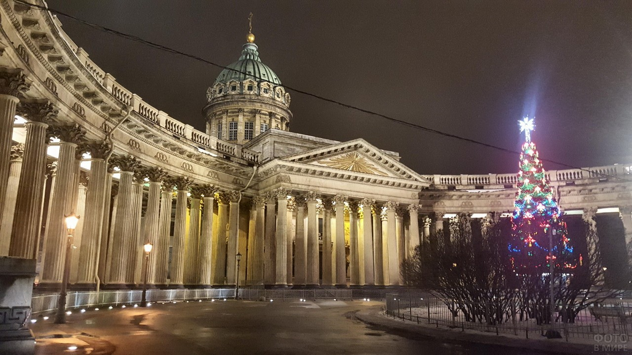 Новогодняя ёлка на улице Санкт-Петербурга