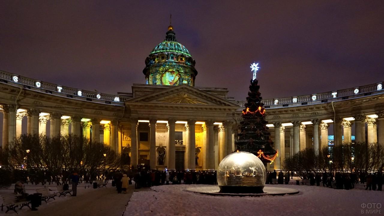 Рождественская подсветка на храме