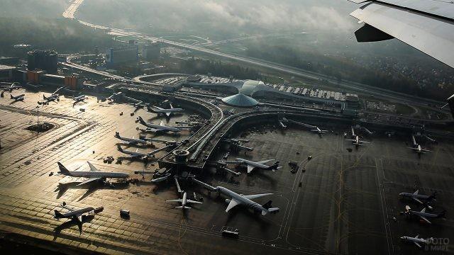Вид из иллюминатора на терминал D