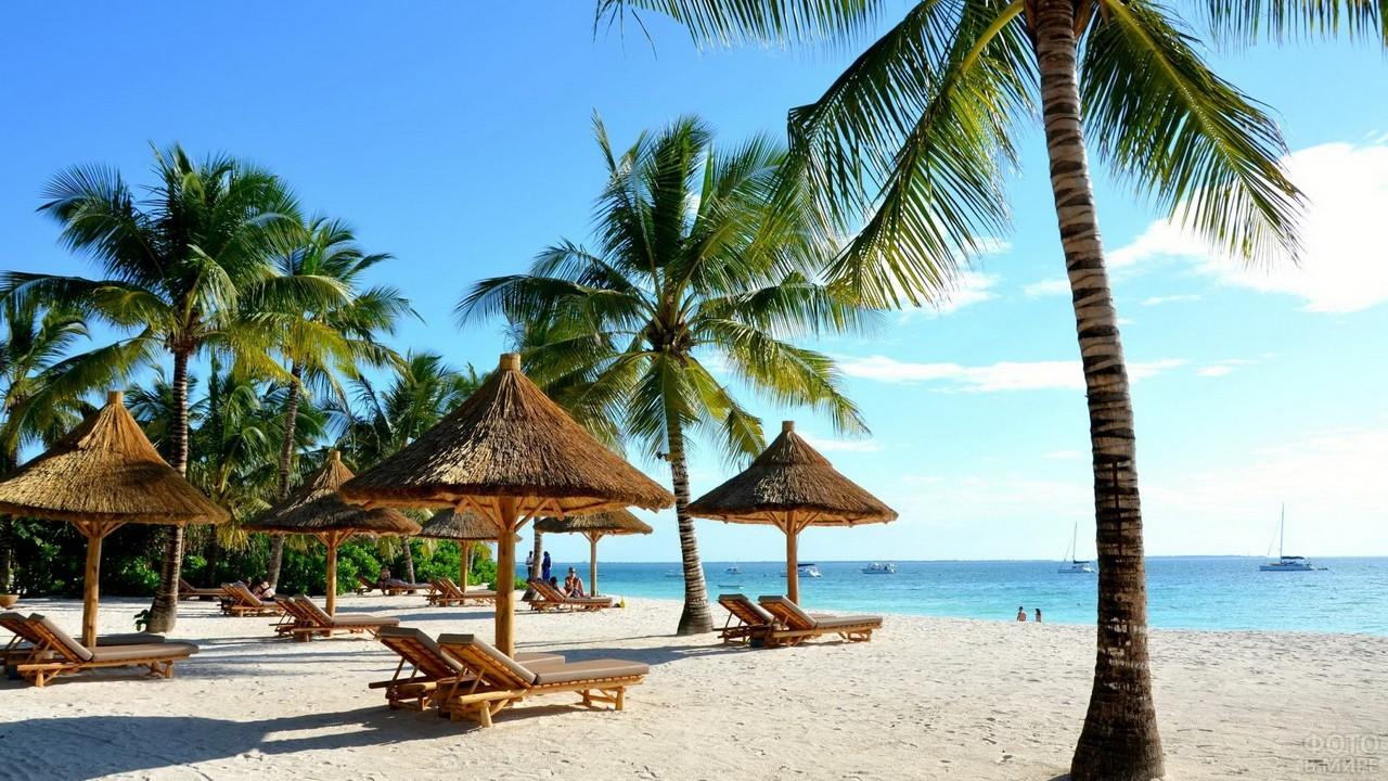 Соломенные зонтики на пляже Занзибара
