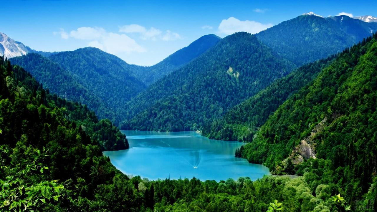Изумрудный лес на берегах голубого озера