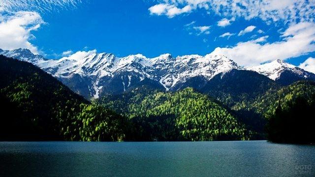 Лес и горы на берегу озера