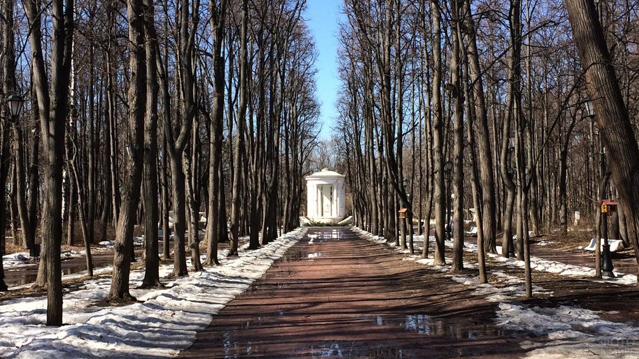 Ранняя весна на аллеях вокруг ротонды в честь 800-летия Москвы