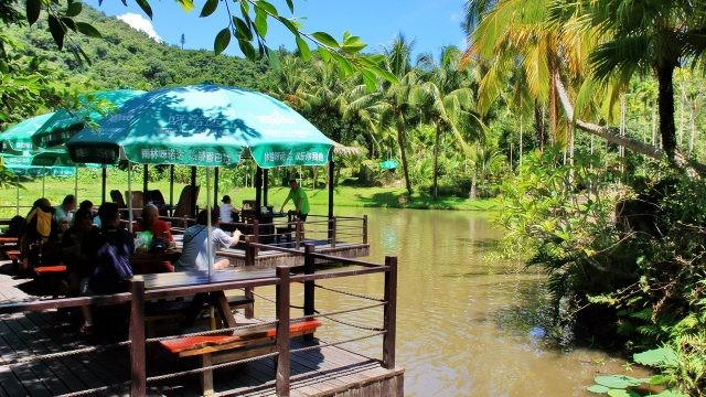 Туристы в кафе тропического парка Янода