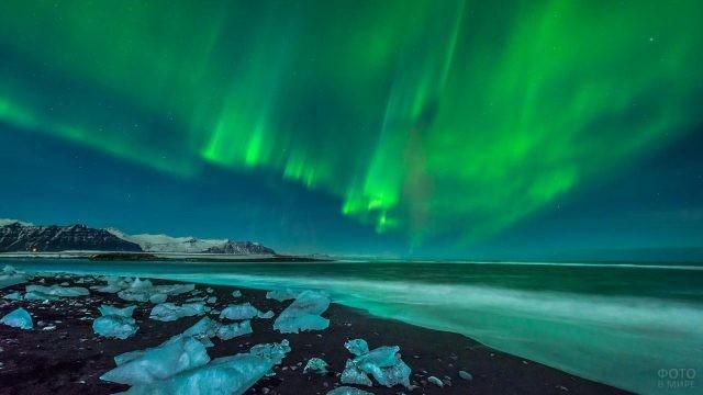 Северное сияние над Северным Ледовитым океаном