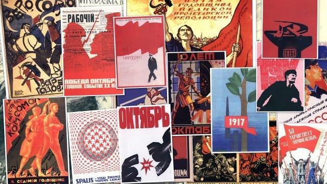 Советские плакаты в честь Великой октябрьской революции