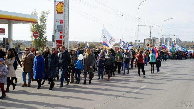 Демонстрация в День народного единства на улице Волгодонска