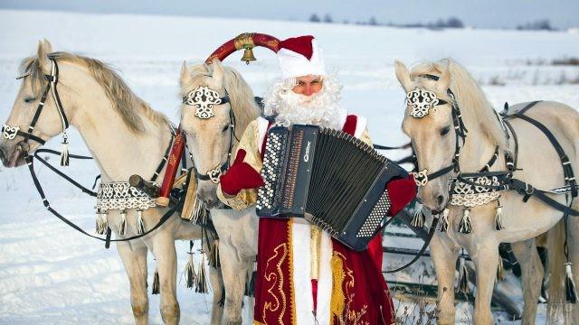 Дед Мороз с гармонью у тройки белых лошадей