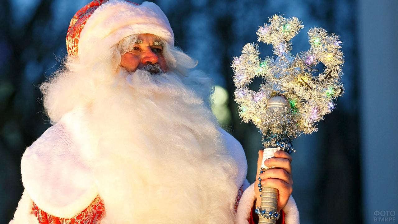 Дед Мороз с окладистой белой бородой