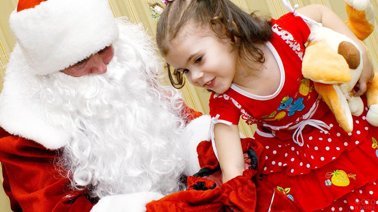 Нарядная девочка и Дед Мороз достают подарок из мешка